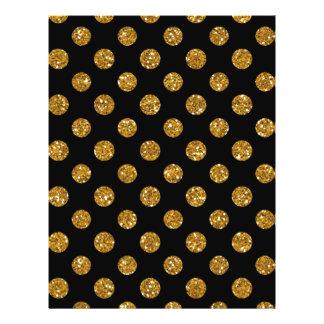 Faux Gold Glitter Polka Dots Pattern on Black 21.5 Cm X 28 Cm Flyer