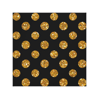 Faux Gold Glitter Polka Dots Pattern on Black Stretched Canvas Print