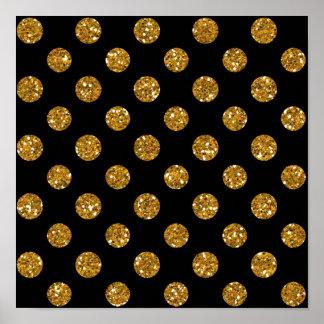 Faux Gold Glitter Polka Dots Pattern on Black Poster