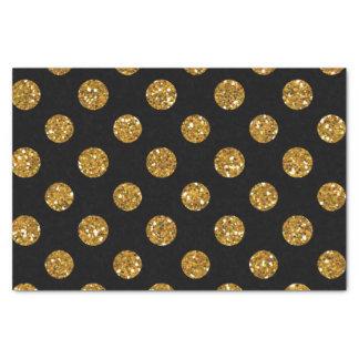 Faux Gold Glitter Polka Dots Pattern on Black Tissue Paper