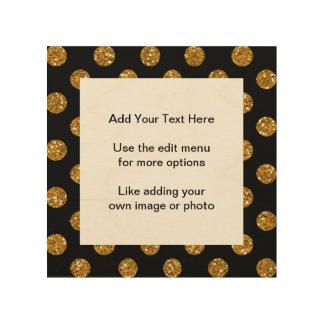 Faux Gold Glitter Polka Dots Pattern on Black Wood Canvas