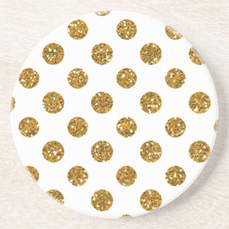 Faux Gold Glitter Polka Dots Pattern on White Beverage Coaster