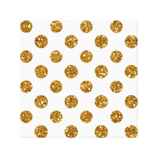 Faux Gold Glitter Polka Dots Pattern on White Gallery Wrapped Canvas