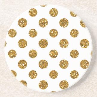Faux Gold Glitter Polka Dots Pattern on White Coaster