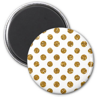 Faux Gold Glitter Polka Dots Pattern on White Refrigerator Magnets