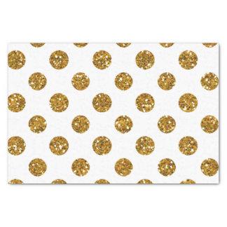 Faux Gold Glitter Polka Dots Pattern on White Tissue Paper