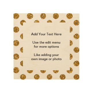 Faux Gold Glitter Polka Dots Pattern on White Wood Print