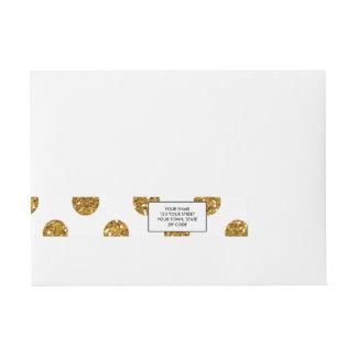 Faux Gold Glitter Polka Dots Pattern on White Wraparound Address Label