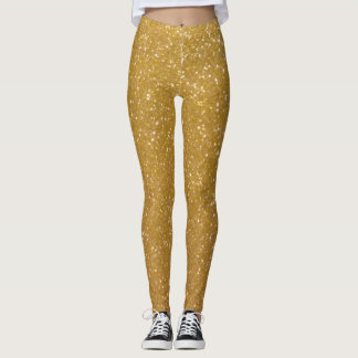 Faux gold glitter printed leggings Sparkly tights