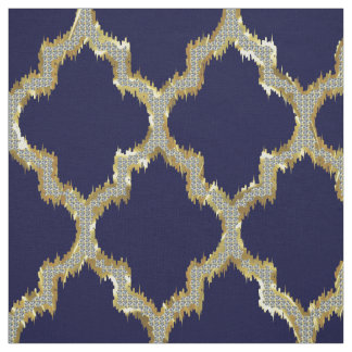 Faux Gold Glitter Quatrefoil Ikat With Blue Back Fabric