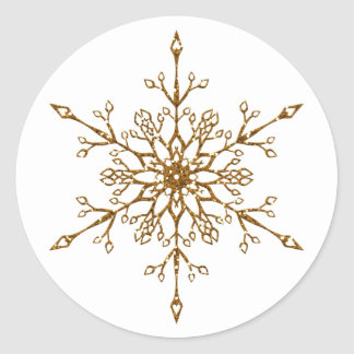 Faux Gold Glitter Snowflake Classic Round Sticker