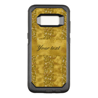 Faux Gold glitter stripes on Gold Foil OtterBox Commuter Samsung Galaxy S8 Case