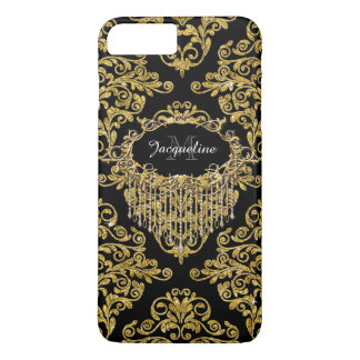 Faux Gold Glitter Stylish Vintage Elegant Damask iPhone 7 Plus Case