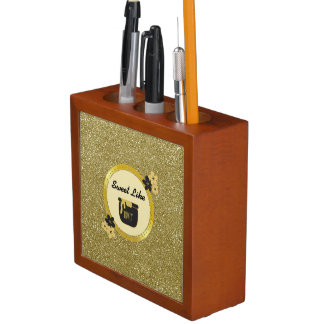 Faux Gold Glitter Sweet Like Honey Desk Organiser