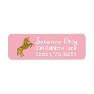 Faux Gold Glitter Unicorn Address Return Address Label