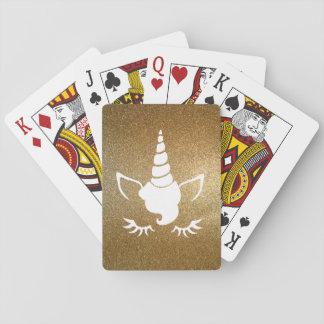 Faux Gold Glitter Unicorn Playing Cards