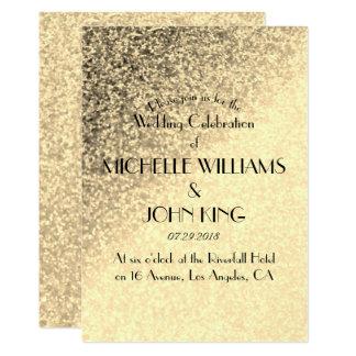 Faux Gold Glitter Wedding Invitation Card