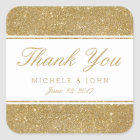 Faux Gold Glitter Wedding Thank You Favour Square Sticker