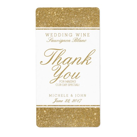 Faux Gold Glitter Wedding Wine Custom Label