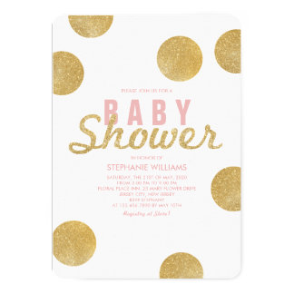 Faux Gold Glitter White Pink Baby Shower Invite