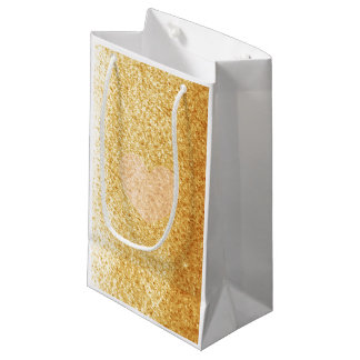 Faux Gold Glitter With Heart Small Gift Bag