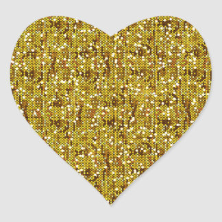 Faux Gold Glittery Sequin Confetti Heart Sticker