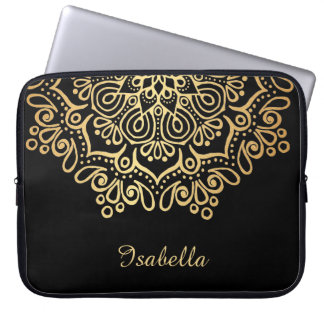 Faux gold Gold Intricate Lace Mandala Black Laptop Sleeve