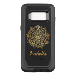 Faux gold Gold Mandala black monogrammed OtterBox Defender Samsung Galaxy S8 Case