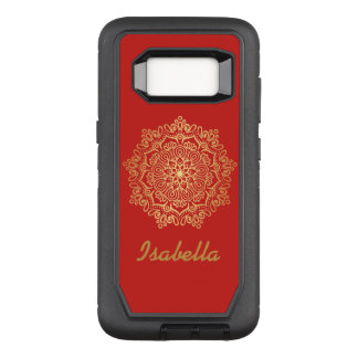Faux gold Gold Mandala RED monogram OtterBox Defender Samsung Galaxy S8 Case