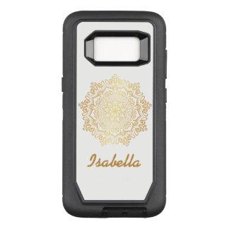 Faux gold Gold Mandala white monogram OtterBox Defender Samsung Galaxy S8 Case