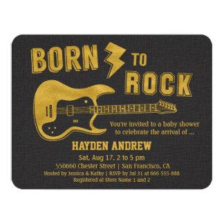 Faux Gold Guitar Rockstar Baby Shower invitations