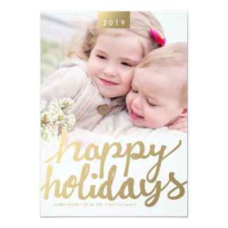 Faux Gold Happy Holidays Photo Modern Photo Card 13 Cm X 18 Cm Invitation Card