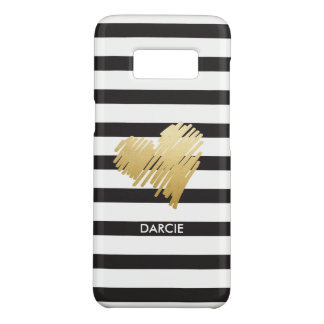 Faux Gold Heart Black White Striped Personalised Case-Mate Samsung Galaxy S8 Case