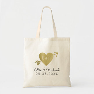 faux gold heart of love tote bag