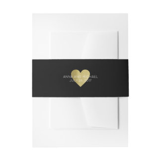 faux gold heart with couple names, black invitation belly band
