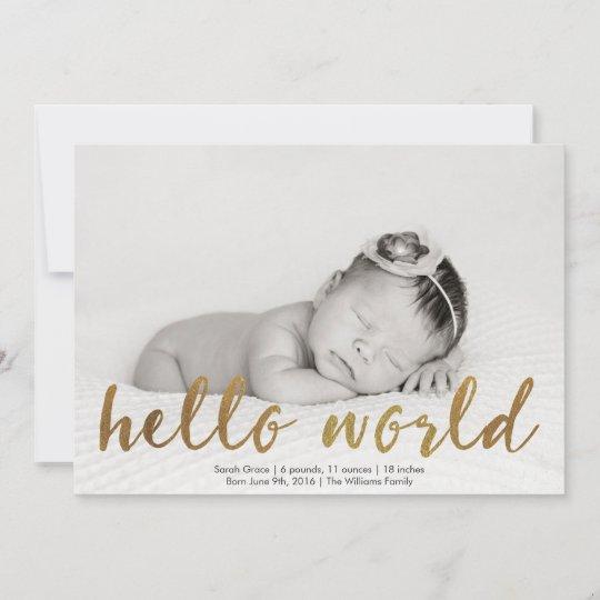 Helloworld Australia: Faux Gold Hello World Photo Birth Announcement