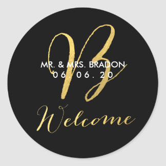 Faux Gold Initial B   Wedding Welcome Sticker