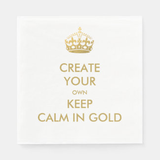 Faux Gold Keep Calm and Carry On 50th Wedding Disposable Serviette