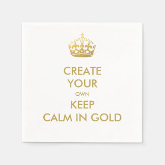 Faux Gold Keep Calm and Carry On Wedding Party Paper Serviettes