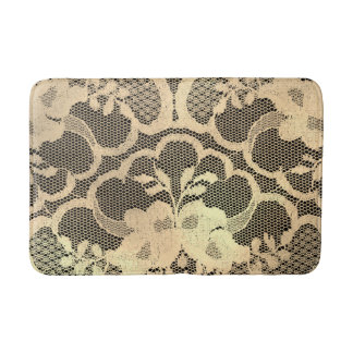 Faux Gold Lace Black Floral Luxury Glam Bath Mat