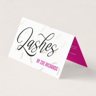 Faux Gold Lashes Hot Pink Lash Artist Aftercare Business Card