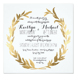 Faux Gold Laurel Wreath Olive Leaf Branch Square 13 Cm X 13 Cm Square Invitation Card
