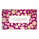 Faux Gold Leaf Circles Burgundy Business Card