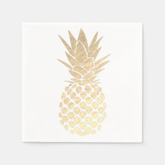 faux gold leaf look pineapple disposable serviette