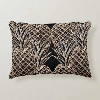 Faux Gold Leaf Pineapple Collage Accent Cushion