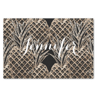 Faux Gold Leaf Pineapple Collage Monogram Tissue Paper