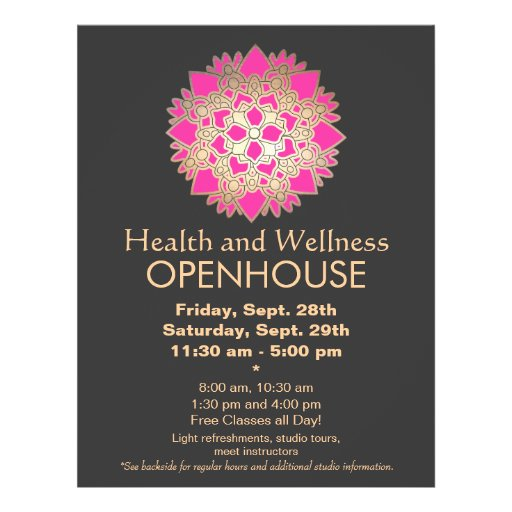 Faux Gold Leaf Pink Lotus Healing Arts Flyer