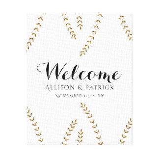 Faux Gold Leaf Wedding Welcome Sign Canvas Print
