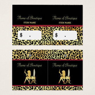 FAUX Gold Leopard Woman Hair Boutique Hang Tags Business Card