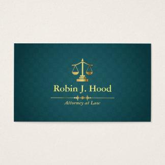 Faux Gold Libra Dark Green Rhombus Lawyer Business Card
